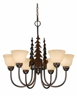 Vaxcel CH55756BBZ Bozeman Rustic Burnished Bronze Finish 25  Tall Chandelier Light