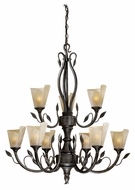 Vaxcel CP-CHU009BW Capri Rustic Black Walnut Finish 38.5  Tall Ceiling Chandelier