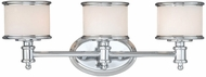 Vaxcel CR-VLU003CH Carlisle Chrome Finish 7.5  Wide 3-Light Vanity Lighting Fixture