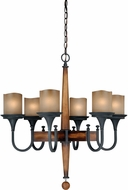 Vaxcel H0026 Meritage Charred Wood and Black Iron Finish 29  Tall Hanging Chandelier