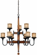 Vaxcel H0027 Meritage Charred Wood and Black Iron Finish 35  Wide Chandelier Light