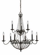 Vaxcel H0059 Novara Traditional Aged Walnut Finish 32  Wide Chandelier Lamp