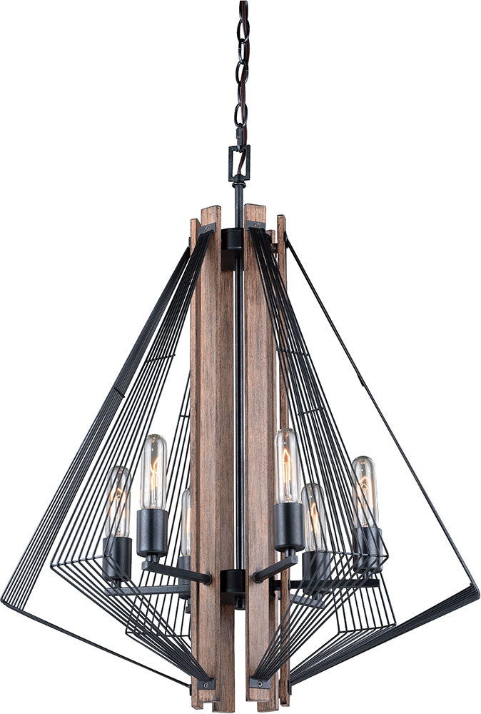 Wood Foyer Chandelier : Vaxcel h dearborn contemporary black with burnished