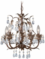 Vaxcel MN-CHU014HP  Crystal Helenic Patina Finish 15.25  Tall Mini Chandelier Lamp