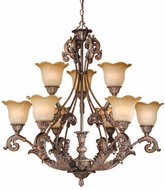 Vaxcel MT-CHU009AR Monte Carlo Traditional Aged Bronze Finish 34  Tall Chandelier Light