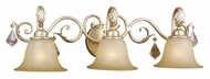 Vaxcel NC-VLD003GW Newcastle Gilded White Gold Finish 8.5  Wide 3-Light Vanity Light Fixture