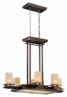 Vaxcel P0012 Oak Park Craftsman Sienna Bronze Finish 28.63  Tall Ceiling Chandelier