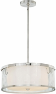 Vaxcel P0070 Vilo Modern Satin Nickel Finish 16.25  Wide Drum Pendant Lamp