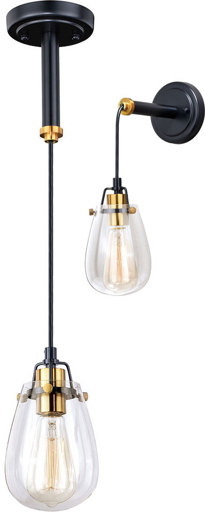 Vaxcel P0232 Kassidy Contemporary Black and Natural Brass Mini Hanging L& / Wall Sconce. Loading zoom  sc 1 st  Affordable L&s & Vaxcel P0232 Kassidy Contemporary Black and Natural Brass Mini ...