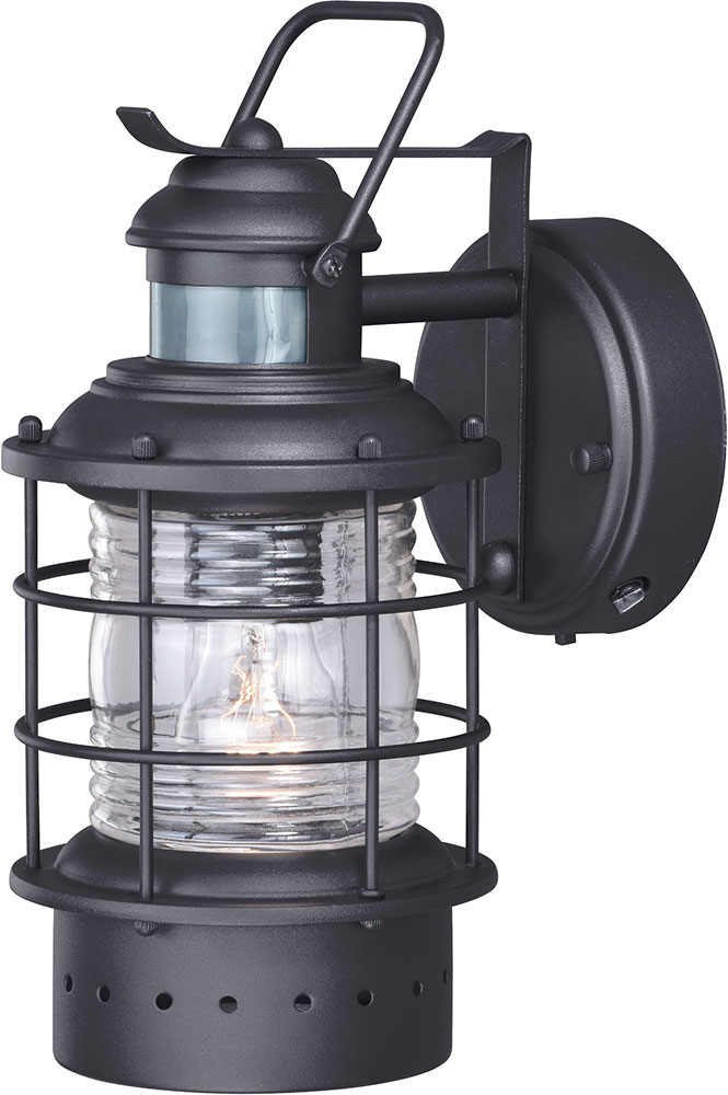 Vaxcel T0185 Hyannis Nautical Textured Black Outdoor Motion Sensor Light Sconce W Photocell Loading Zoom