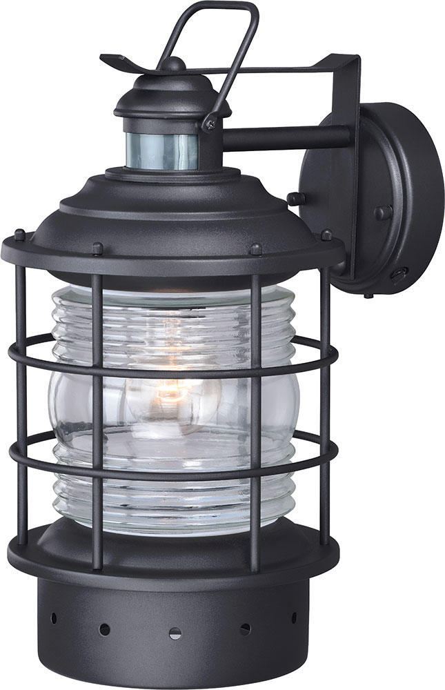Vaxcel T0187 Hyannis Nautical Textured Black Outdoor Motion Sensor Lamp  Sconce W/ Photocell. Loading Zoom