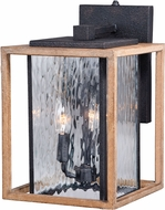 Vaxcel T0238 Modoc Textured Dark Bronze and Distressed Oak Exterior Wall Light Sconce