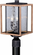 Vaxcel T0240 Modoc Textured Dark Bronze and Distressed Oak Exterior Lighting Post Light