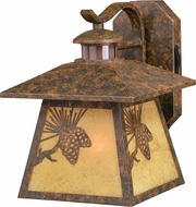 Vaxcel T0294 Whitebark Dualux Craftsman Olde World Patina Exterior Motion Detector w/ Photocell Wall Lighting Sconce