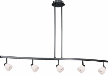 Vaxcel TP53406DB Contemporary Dark Bronze Halogen 5L Spot Light Pendant w/Frosted Opal Glass