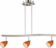 Vaxcel TP53407SN Modern Satin Nickel Halogen 3L Spot Light Pendant w/Honey Ripple Glass