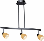 Vaxcel TP53413DB Contemporary Dark Bronze Halogen 3L Spot Light Pendant w/Amber Wiped Glass