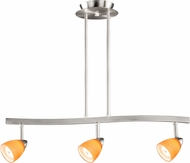Vaxcel TP53413SN Modern Satin Nickel Halogen 3L Spot Light Pendant w/Amber Wiped Glass