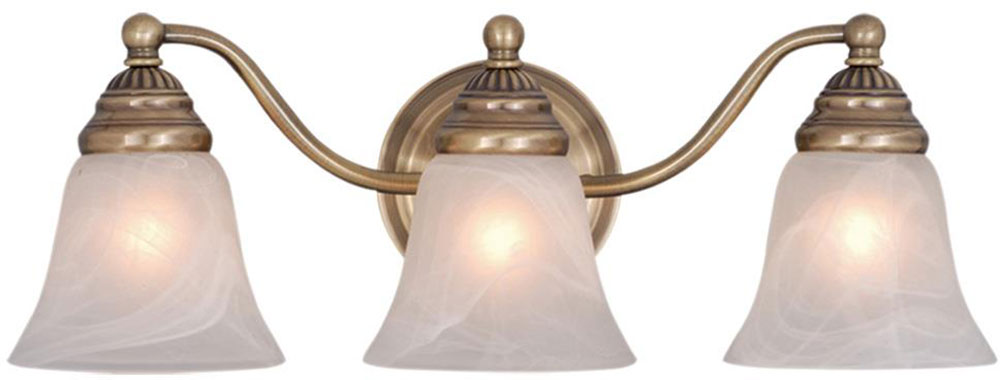 Vaxcel vl35123a standford antique brass 3 light bathroom for Bathroom 3 light fixtures