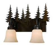 Vaxcel VL55502BBZ Yosemite Rustic Burnished Bronze Finish 13.75  Tall 2-Light Bathroom Vanity Light