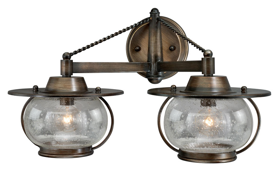 "Nautical Bathroom Light Fixture: Vaxcel W0019 Jamestown Nautical Parisian Bronze 11"" Tall"