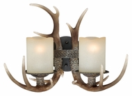 Vaxcel W0033 Yoho Rustic Black Walnut Finish 12.5  Tall 2-Light Vanity Light Fixture