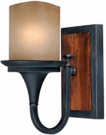 Vaxcel W0042 Meritage Charred Wood and Black Iron Finish 7.75 Wide Wall Mounted Lamp