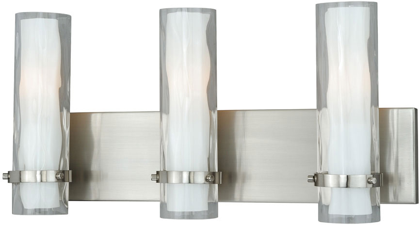 "Bathroom Sconces Lighting vaxcel w0076 vilo contemporary satin nickel finish 9.75"" tall"