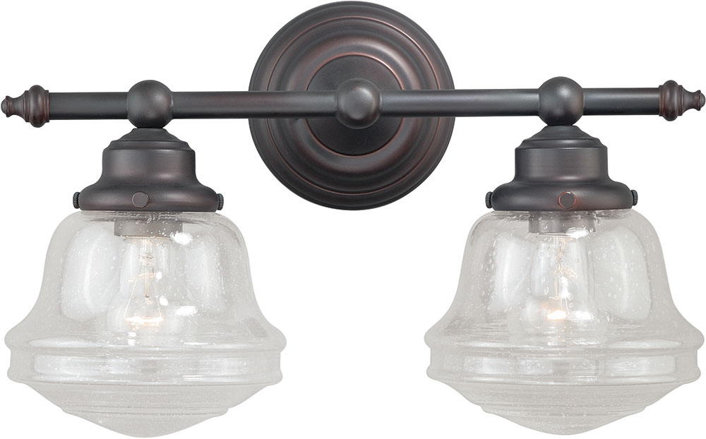 Vaxcel w0189 huntley oil rubbed bronze 2 light bath light for 6 light bathroom fixture