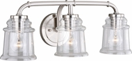 Vaxcel W0241 Toledo Contemporary Satin Nickel 3-Light Lighting For Bathroom