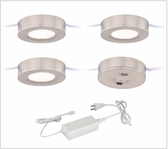Vaxcel X0081 Instalux Contemporary Satin Nickel LED Dual Mount Puck Light 3-pack Kit