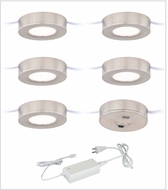 Vaxcel X0082 Instalux Modern Satin Nickel LED Dual Mount Puck Light 5-pack Kit