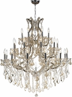 Worldwide W83003C38-GT Maria Theresa Polished Chrome Golden Teak 38  Ceiling Chandelier