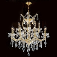 Worldwide W83006G27 Maria Theresa Polished Gold Clear 27  Ceiling Chandelier