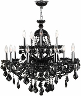 Worldwide W83101C35-BL Provence Polished Chrome Black 35  Ceiling Chandelier