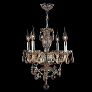Worldwide W83103C17-AM Provence Polished Chrome Amber Mini Ceiling Chandelier
