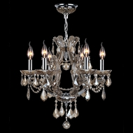 Worldwide W83117C20-GT Lyre Polished Chrome Golden Teak Mini Hanging Chandelier