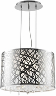 Worldwide W83180C17 Julie Polished Chrome Clear Halogen Drum Pendant Light Fixture