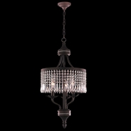 Worldwide W83359F14-CL Enfield Flemish Brass Clear Drum Pendant Lighting Fixture