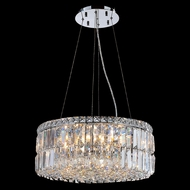 Worldwide W83501C20 Cascade Polished Chrome Clear 20  Drum Hanging Pendant Light
