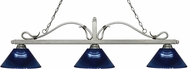 Z-Lite 114-3AS-ARDB Melrose Antique Silver Dark Blue Island Light Fixture