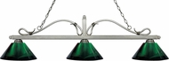 Z-Lite 114-3AS-ARG Melrose Antique Silver Green Kitchen Island Light Fixture