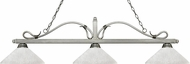 Z-Lite 114-3AS-AWL14 Melrose Antique Silver Angle White Linen Kitchen Island Lighting