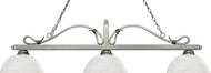 Z-Lite 114-3AS-DWL14 Melrose Antique Silver Dome White Linen Kitchen Island Lighting