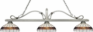 Z-Lite 114-3AS-F14-1 Melrose Antique Silver Multi Colored Tiffany Kitchen Island Light