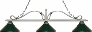 Z-Lite 114-3AS-MDG Melrose Antique Silver Dark Green Island Lighting