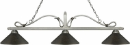Z-Lite 114-3AS-MGB Melrose Antique Silver Golden Bronze Kitchen Island Light