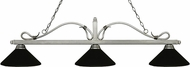 Z-Lite 114-3AS-MMB Melrose Antique Silver Matte Black Island Light Fixture