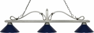 Z-Lite 114-3AS-MNB Melrose Antique Silver Navy Blue Kitchen Island Light Fixture