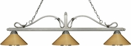 Z-Lite 114-3AS-MPB Melrose Antique Silver Polished Brass Island Lighting